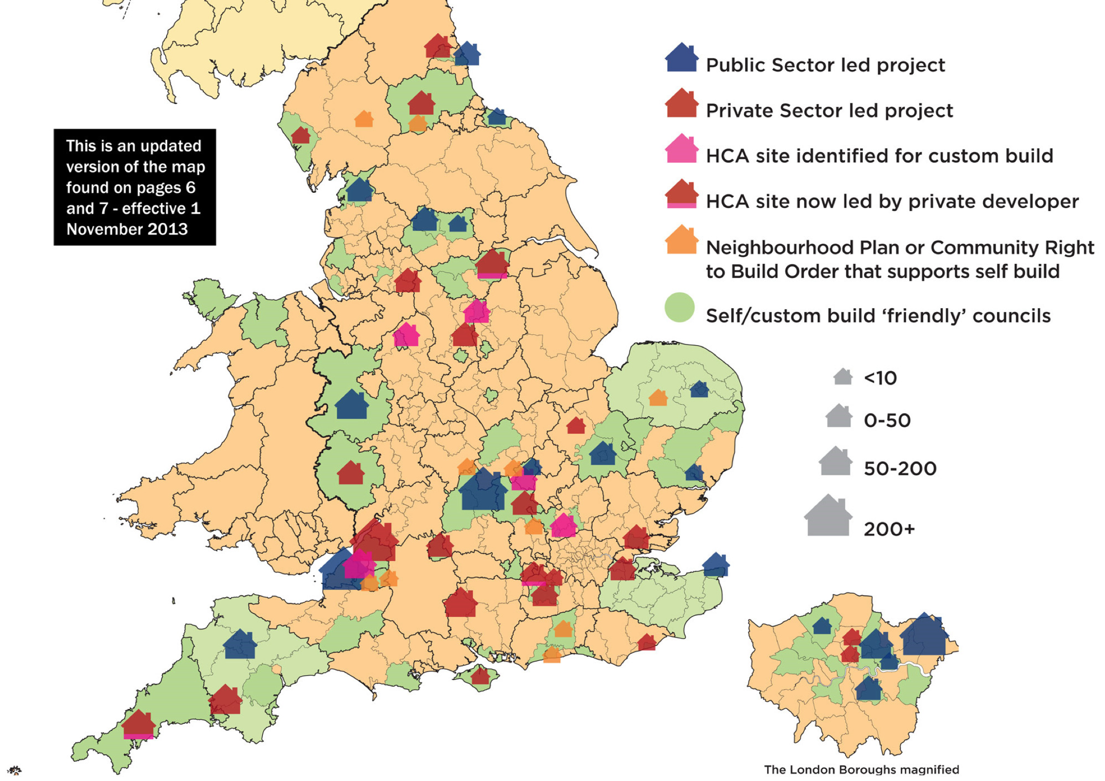 Map of self build projects and council support from NaSBA